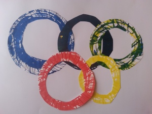 "Noelle made these Olympic Rings using her Crayola ""spin art"" toy"