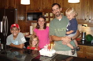 My dear husband with our four kiddos on his 39th birthday